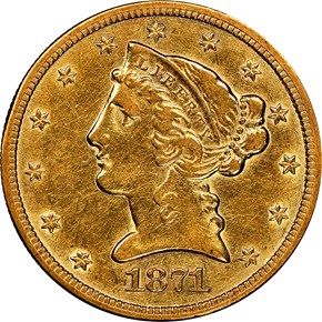 1871 CC $5 MS obverse