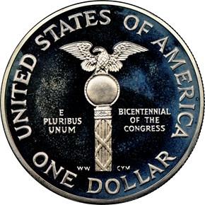 1989 S CONGRESS BICENTENNIAL S$1 PF reverse