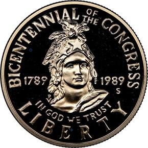 1989 S CONGRESS BICENTENNIAL 50C PF obverse