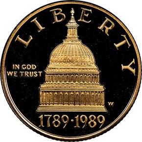 1989 W CONGRESS BICENTENNIAL $5 PF obverse