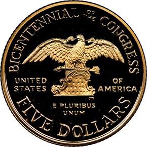 1989 W CONGRESS BICENTENNIAL $5 PF reverse