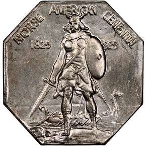 1925 NORSE AMERICAN THICK SILVER MEDAL MS obverse