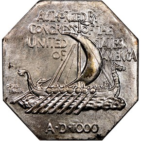 1925 NORSE AMERICAN THICK SILVER MEDAL MS reverse