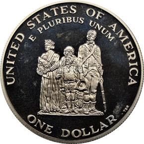 1998 S BLACK PATRIOTS S$1 PF reverse