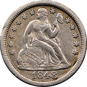1848 10C MS obverse