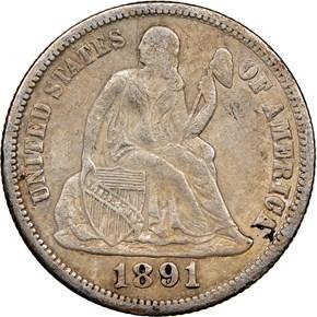 1891 S 10C MS obverse