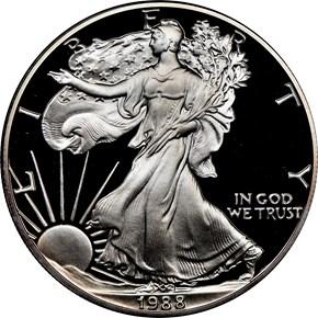 1988 S EAGLE S$1 PF obverse