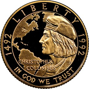 1992 W COLUMBUS QUINCENTENARY $5 PF obverse