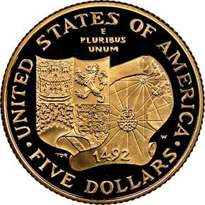 1992 W COLUMBUS QUINCENTENARY $5 PF reverse