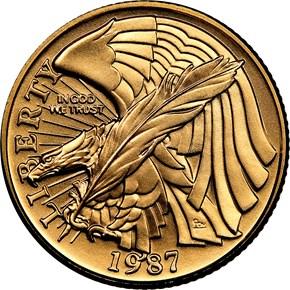 1987 W CONSTITUTION BICENTENNIAL $5 MS obverse