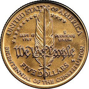1987 W CONSTITUTION BICENTENNIAL $5 MS reverse