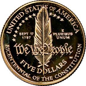 1987 W CONSTITUTION BICENTENNIAL $5 PF reverse