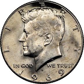 1969 D 50C MS obverse