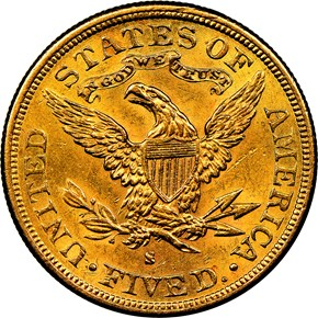 1881 S $5 MS reverse