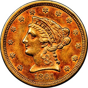 1861 TYPE 2 $2.5 MS obverse