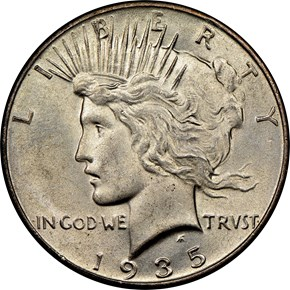 1935 $1 MS obverse