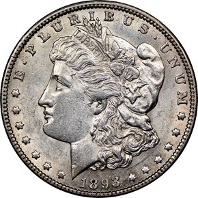 1893 O $1 MS obverse