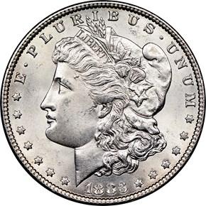 1883 $1 MS obverse