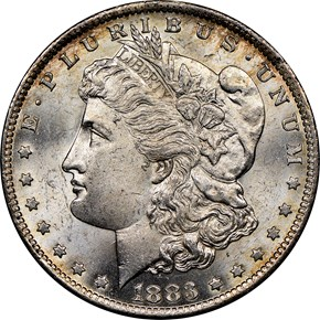 1883 O $1 MS obverse