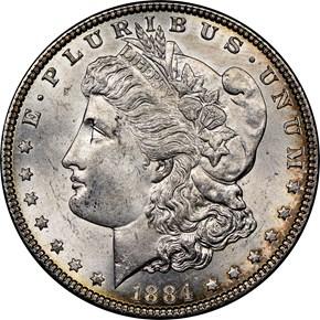 1884 $1 MS obverse
