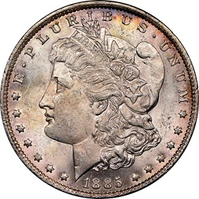 1885 O $1 MS obverse