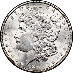 1886 $1 MS obverse