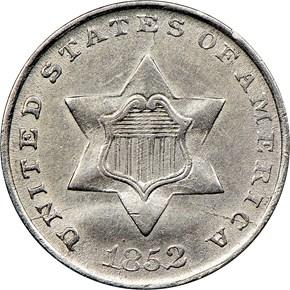 1852 3CS MS obverse