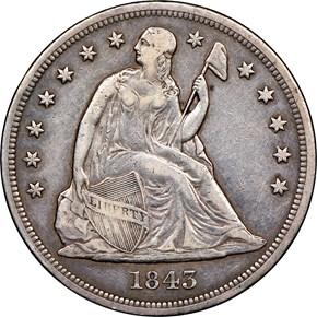 1843 $1 MS obverse