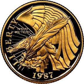 1987 W CONSTITUTION BICENTENNIAL $5 PF obverse
