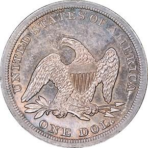 1853 $1 MS reverse