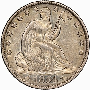 1854 O ARROWS 50C MS obverse