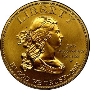 2007 W JEFFERSON'S LIBERTY G$10 MS obverse