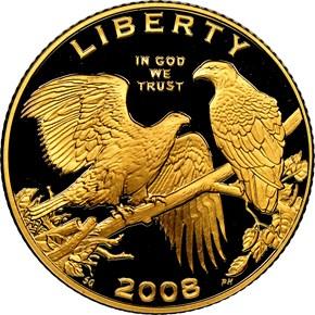 2008 W BALD EAGLE $5 PF obverse