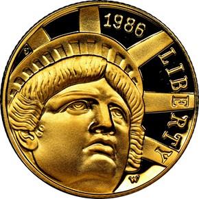 1986 W STATUE OF LIBERTY $5 PF obverse