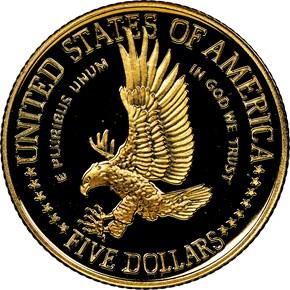 1986 W STATUE OF LIBERTY $5 PF reverse