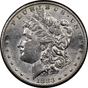 1883 S $1 MS obverse