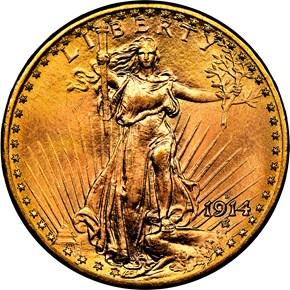 1914 D $20 MS obverse