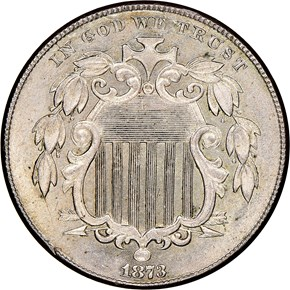 1873 OPEN 3 5C MS obverse