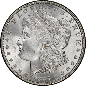 1887 $1 MS obverse