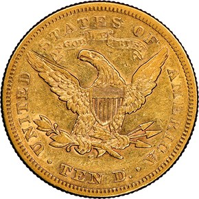 1876 S $10 MS reverse