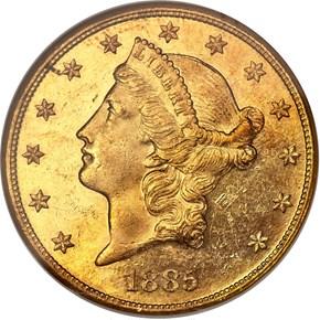 1885 $20 MS obverse