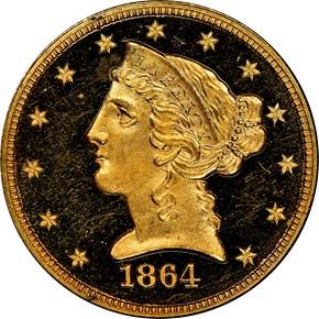 1864 $5 PF obverse