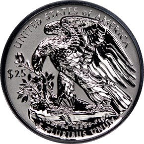 2019 W Eagle High Relief Pd$25 RP reverse