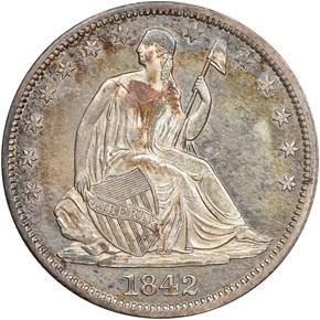 1842 O MED DATE 50C MS obverse