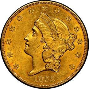 1852 O $20 MS obverse