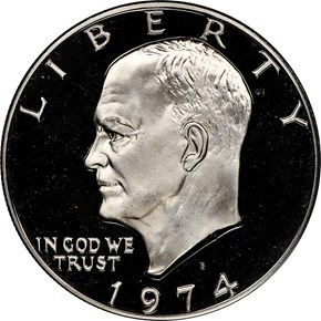 1974 S CLAD $1 PF obverse