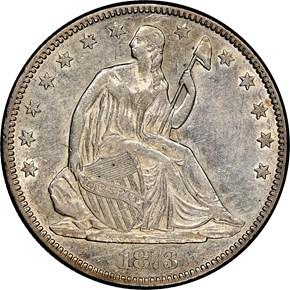 1873 OP 3 NO ARROWS 50C MS obverse