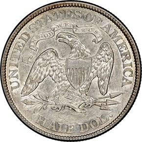 1873 OP 3 NO ARROWS 50C MS reverse