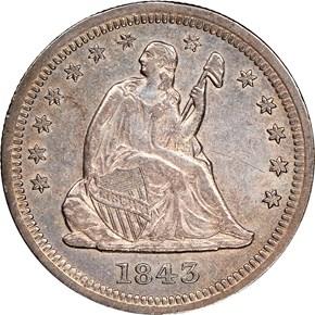 1843 O 25C MS obverse