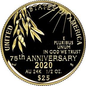 2020 W End of WW2 75th Anniversary G$25 PF obverse